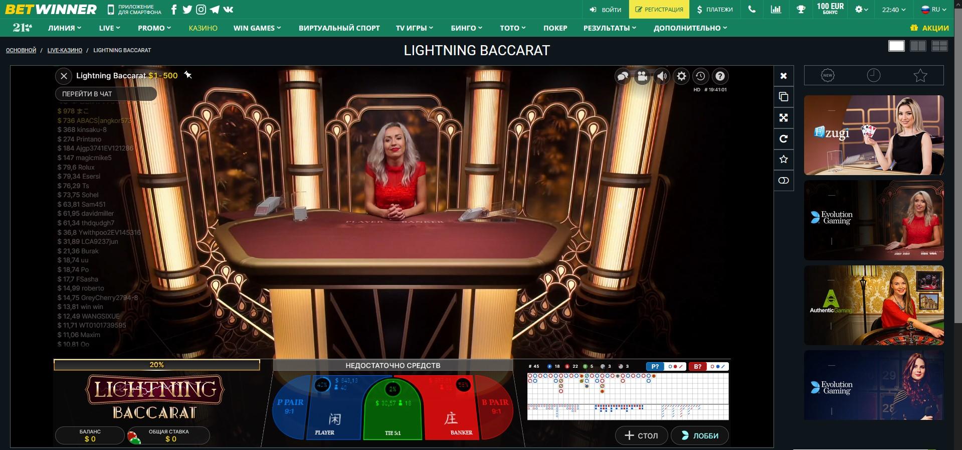 live casino betwinner